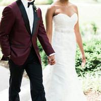 Latest Design Burgundy Men Suits Wedding Man Suits Black Shawl Lapel Groom Tuxedos 2Piece (Coat+Pants)Costume Homme Slim Fit Terno Masculino