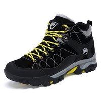 yeni kürk botları toptan satış-2019 Yeni Erkekler Boots Kış Kürk ile Sıcak Kar Botları Erkekler Kış Iş Ayakkabıları Erkek Ayakkabı Moda Kauçuk Ayak Bileği Ayakkabı 39-45