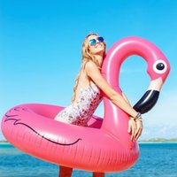 Wholesale swimming air float resale online - 120cm Pink Inflatable Flamingo Pool Floats Swimming Rings Floating Row Chair Beach Air Mattress for Swimming Water Sports Pool Party