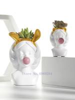 pote de bolha venda por atacado-Criativa Nordic Estilo Resina Vaso Cute Girl Bubble Gum decorativa Flower Pot Modern Adorável Art Decoração Arranjo de flor