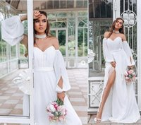 Wholesale ruffled long train wedding dress resale online - 2020 Cheap Bohemian A line Wedding Dress sexy boho off the shoulder with ruched chiffon side split Bridal Gown Open Back custom made