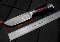 ingrosso lama damascus lavorata a mano-Collezione di coltello dritto in acciaio Damasco, anima in acciaio VG10, lunghezza totale 210MM, lunghezza lama 105MM, prodotti fatti a mano made in China