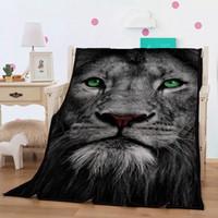 tierdeko großhandel-Neu gestaltete Wild Animal Flanelldecke 3D Lion White und Flower Throw Blanket Aggressive Home Deco weiche Tagesdecke