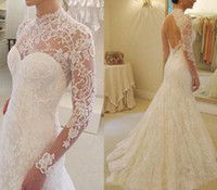 Wholesale keyhole back trumpet wedding dress for sale - Vintage High Neck Lace Mermaid Wedding Dresses With Illusion Long Lace Sleeves Keyhole Back Wedding Dress Bridal Gowns Cheap