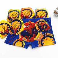 erkek iç çamaşırı çizgi filmleri toptan satış-Karikatür örümcek-adam Boy Boxer Külot Erkek Iç Çamaşırı Çocuk Külot çocuk giysi tasarımcısı erkek iç çamaşırı Çocuk Iç Çamaşırı Külot A6792