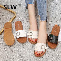 слайдеры оптовых-Woman Shoes  Low Slides Socofy Flat Slippers Designer Sliders Soft 2019 Rubber PU Fashion Buckle Strap Fabric Basic TPR