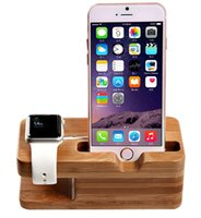 apfel wiege ladung großhandel-Standfuß, iWatch Bamboo Wood Charging Dock Ladestation Lagerhalter für Apple Watch iPhone X / XS / XR / 8 Plus / 8/7 Plus