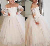 Wholesale blue silver wedding gowns resale online - Lovely Champagne Pink Flower Girl Dresses Princess Sheer Crew Neck Long Sleeve Appliques Tulle Ruffles Long Kids Formal Communion Gowns