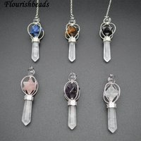 ingrosso grande collana di pendente del cuore della lega-Pendolo con pendente a forma di gemma in pietra naturale con cristallo trasparente