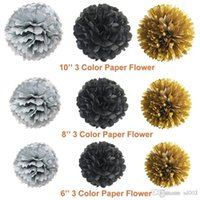 Wholesale round color paper resale online - Black Gold Balloon Paper Flower Ball Diy Flag Banner Color Round Piece Birthday Party Decoration Supplies dm cc