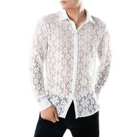 ingrosso camicie mesh mesh-Estate di lusso da uomo in pizzo floreale camicia casual slim fit manica lunga camicie sexy scava fuori magliette e camicette chemise homme manche longue 20