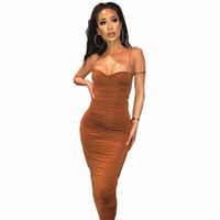sıcak satan kadınlar seksi toptan satış-Kadınlar Moda Seksi Katı Elbiseler Sıcak Satış BODYCON Spagetti Askı Elbise Parti İmparatorluğu Kadın Yaz Elbise