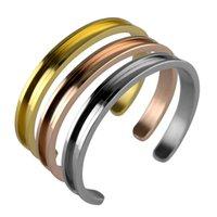 браслеты для волос оптовых-Волосы галстук браслет C форма открытые браслеты с волосами галстук из нержавеющей стали щеткой края для женщин Девушки браслеты ювелирные изделия 3color GGA2554