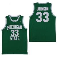 jerseys altos al por mayor-NCAA Michigan State Spartans # 33 Earvin Johnson Magic LA Green White College 33 Larry Bird High School Basketball Jersey camisetas cosidas
