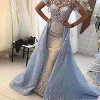 cielo nupcial vestidos de novia al por mayor-Light Sky Blue Lace Sirena Vestidos de novia Illusion Corpiños Manga corta Apliques de encaje Vestidos de novia con faldas largas Vestidos de novia