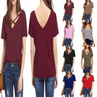 Wholesale ladies simple t shirts for sale - Group buy V Collar Lady T Shirt Summer Loose Bandage Short Sleeve Bottoming Shirts Pure Color Soft Cotta Simple Creative High Quality ks D1
