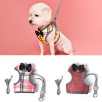 Wholesale led dog clothes resale online - Dogs Pet Harness Lead Leash Puppy Pet Vest Dog Cat Harness With Leash Bowknot Plaid Adjustable Vest Breathable Mesh Clothes BH1542 TQQ