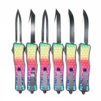 cuchillos de colores al por mayor-Colorido diamante patrón manejar doble acción táctica autodefensa plegable edc cuchillo camping cuchillo caza cuchillos regalo de navidad PD00