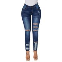 ingrosso pantaloni a vita alta neri-Jeans a vita alta con strappi sexy strappati per le donne Jeans a vita alta neri chiari jeans a vita alta con cut-up Jeans taglia più alta