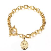 Wholesale ot bracelet for sale - Group buy New design Catholic Stainless Steel Oval Tag Charms Bracelet OT buckle Coin Round Virgin Mary Bracelet For Woman Christian Religious Jewelry