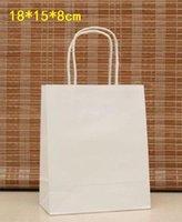 ingrosso eleganti maniglie bianche-Wholesale-40PCS Elegante confezione regalo di carta bianca / Piccole dimensioni / Sacchetti regalo Kraft con manico / Qualità eccellente / 18x15x8cm / Commercio all'ingrosso