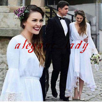 Wholesale chiffon hi lo beach wedding dresses resale online - White Bohemian Hippie Wedding Dresses V Neck Long Sleeve Tea Length Lace Chiffon Beach Boho Country Bridal Gowns Plus Size