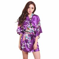 lila chinesischen stil kleider großhandel-Weibliche lila gedruckte Blumen Kimono Kleid Kleid chinesischen Stil Silk Satin Robe Nachthemd Blume S M L Xl Xxl Xxxl