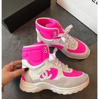 botas de calçado de tornozelo para mulheres venda por atacado-Mulheres designer vestido sapatos casuais Ankle Boots das mulheres lace-up apartamentos high-top sneakers splice esportes sapatos clássicos de tamanho 35-45