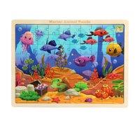 ingrosso giocattoli di legno di alta qualità-Giocattoli per bambini 80 pezzi Animali da fattoria in legno Animali della foresta Puzzle di pesce Animali del fumetto Puzzle in legno di alta qualità Giocattoli Montessori