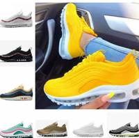 hot 97 al por mayor-Nike Air Max 97 97s Mens Womens  Running Shoes Balck Metallic Gold South Beach PRM Yellow Triple White 97s DesignerSports Sneakers US 5.5-11