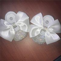 ingrosso battesimo bianco delle bambine-Principessa ragazze infantile grande nastro bianco fatto a mano bowknot decorare fai da te personalizzato catena strass bambino balletto scintilla battesimo compleanno scarpe