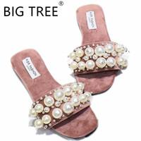 sandales roses plates achat en gros de-Nouveau Femmes Chaussures De Plage De Perles Plat Femme Sandales D'été 2019 Femme Chaussures Lady Pantoufles De Mode De Luxe Chaussure Femmes Créateurs Pantoufle