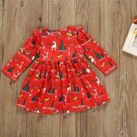 sevimli kıyafetli elbiseler satılık toptan satış-Yeni Moda Sıcak Satış Yürüyor Çocuk Bebek Kız Sevimli Karikatür Noel Giysileri Uzun Kollu Pageant Parti Prenses Elbise