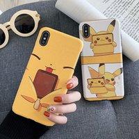 cep telefonu ipek kılıfı toptan satış-Karikatür Pikachu Telefon Kılıfı Güzel Ipek Kabartmalı Iphone Xr 6 7 8 X Artı Xs Max Sıcak Yumuşak TPU Cep Telefonu kılıfları