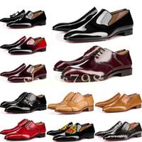 дизайн обуви из воловьей кожи оптовых-[с коробкой] горячий 2019 коровьей кожи cl Red Bottoms Деловая обувь Роскошные свадебные туфли из натуральной кожи Шипы на шнуровке CL Designs