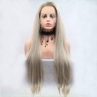 perruques avant en dentelle blanche achat en gros de-Dark Roots Ombre Platinum Droite Synthétique Synthétique Lace Front Perruque Fibre Résistant À La Chaleur Naturelle Barrette Pour Les Femmes Blanches Perruques