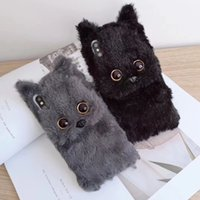 housse d'hiver iphone achat en gros de-Cas mignon de téléphone de chat de chat en peluche 3D pour l'iphone X XR XS XS Max 6 6S 7 8 Plus hiver fourrure chaude fourrure molle