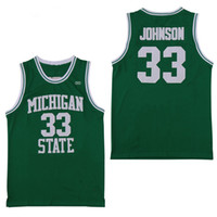 baloncesto michigan state al por mayor-NCAA Michigan State Spartans # 33 Earvin Johnson Magic LA Green Estado de Indiana Sycamore College Larry Bird Baloncesto Jersey camisetas cosidas