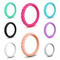 3 mm kauçuk toptan satış-Moda Büküm Silikon Kauçuk Halka 3MM Örgü Mulitcolor Spor Halkalar Düğün Sadelik Kadınlar Takı Yenilik Öğeleri Parti Hediye TTA705-1