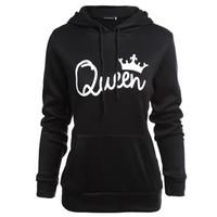 sudadera reina al por mayor-Parejas King Queen Hoodies Mujer Ropa Hombres Hoodies Primavera Otoño Moda Sudaderas
