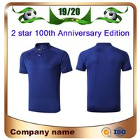 ingrosso corti blu stella-2019 2 stelle POLO # 10 MBAPPE 100 anni maglia da calcio 19/20 GRIEZMANN POGBA Soccer Shirt KANTE GIROUD manica corta blu uniforme da calcio