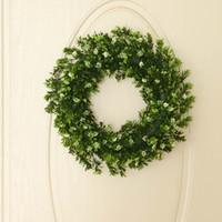 couronne de porte murale achat en gros de-Guirlande artificielle verte guirlande ronde laisse pour décor de Noël de fenêtre de mur de porte