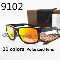 ingrosso protezioni singole-Occhiali da sole polarizzati di sport degli uomini di UV400 di estate 9102 occhiali di riciclaggio degli occhiali da sole all'aperto della protezione dell'occhio del vento con il caso e la scatola