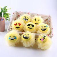 Wholesale mesh body sponges resale online - Expression Bath Flower Cartoon Emoji Modeling Bath Ball Milk Shower Accessories Bathroom Supplies Loofah Mesh Sponge OOA7361