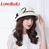 sombreros de lana blancos al por mayor-Moda de la camelia de lana negro Sombreros del cubo para las mujeres Chapéu Femenino floral blanco de fieltro de ala formal WMDW029