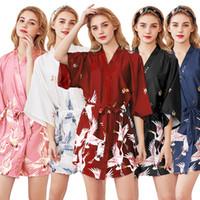 frauen sexy roben großhandel-Minikleid Sexy Seidenkleider Damen Schlafanzug Robe Bademantel HomeWear 2019 Neue Mode Übergrößen Kleider M L XL XXL
