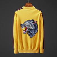 tigre amarillo al por mayor-Diseñador de los hombres Suéter de la marca Suéter con Tiger Wolf bordado Hombres de manga larga Color sólido Amarillo Azul Tamaño M-3XL