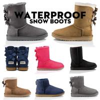 botas de nieve de piel marrón de las señoras al por mayor-UGG zapatos botas de mujer australianas marrones para mujer, botas de invierno para nieve, botas de , diseñador de lujo, tobillo, rodilla, plataforma, niños, niña, talla 36-41