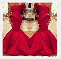 arabian seksi elbiseler toptan satış-2019 Yeni Suudi Arabistan Tasarım Kırmızı Sevgiliye Mermaid Saten Kat Uzunluk Abiye Custom Made Vestidos de novia