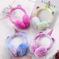 orejeras para niños al por mayor-4 unids / lote Kids Lovely Plush Unicorn Earmuffs Ear Warmers Glitter Unicorn Winter Ear Muffs Warmer Nueva cubierta de alta calidad